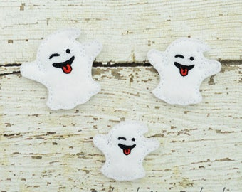 Wink ghost Feltie Set of 4 - Hair Bow Supplies - Clippie Cover - Badge Reel Cover - Craft Supply - Scrapbook - Card Making - Planner Clip