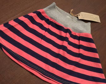 Organic Cotton Baby Clothes Handmade Cream with Pink and Blue Stripe Skirt size 2