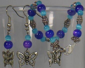 Blue, Purple Butterfly duo set