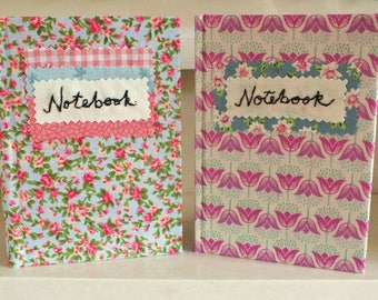 TWO Handmade NOTEBOOK fabric covered A6 hard backed books, unique, lined pages. Pretty & practical jotter pads floral covered retro chic!
