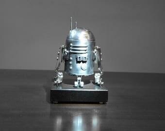 Metal art scrap handmade  Spacecraft perfect gift for Christmas - Birthday R2D2 Granite base