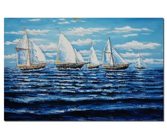Canvas Painting, Oil Painting, Sail Boat Painting, Abstract Painting, Large Art, Canvas Painting, Canvas Art, Abstract Art, Large Wall Art