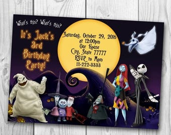The Nightmare Before Christmas Invitation - The Nightmare Before Christmas Birthday Party - Halloween invitation
