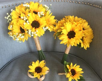 Sunflower bouquet etsy customize your package sunflower bouquet sunflower bouquet sunflower bridal bouquet sunflower bridesmaid junglespirit Image collections