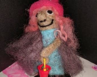 Handmade needle felted unique witch for all seasons.