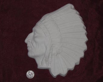 Ceramic Bisque Native American Indian Man Chief Wall Hanging  U-Paint ~ Ready to Paint DIY Unpainted Feathered Headdress