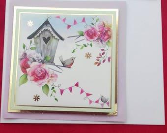 Bird House Birthday Card, Chic Summery Card, Springtime Birthday Card For Her, Pretty Little Cards For Female Birthday Card, Girlie Cards,