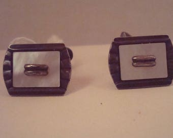 Vintage art deco 835 silver and Mother of Pearl cufflinks