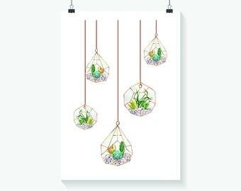 Succulent Print - Home Decor - Hippie Art Print -  Art Print - Summer Print- Floral Print- Supernatural