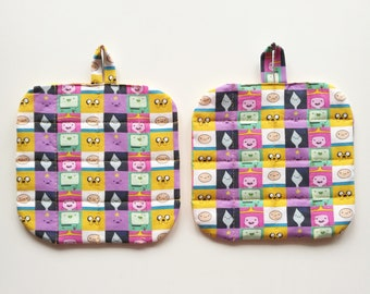 Set Two theme pot holders Adventure Time