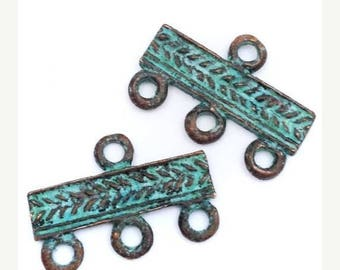 SALE 15% OFF 2 trailers, green patina, 22mm, 2 pieces, connectors, metal trailer, maritime, antique, antique look, pirate jewelry, Ocean, sp