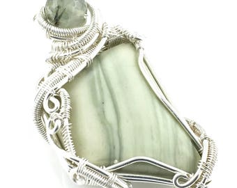 Infinite Gemstone Pendant with Prehnite, wire wrapped in Fine Silver. A Tool for Healing Grief