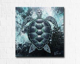 Abstract Sea Turtle - Original Acrylic
