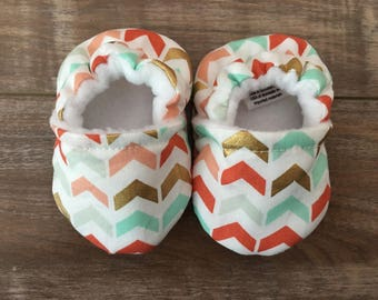 Colorful Chevron Baby Booties, Triangles, Gold Coral Teal, Baby Girl Shoes, Fabric Shoes, Soft Sole Shoes, Trendy, Baby Shower Gift
