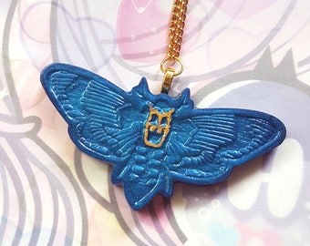 Midnight Blue Death's Head Moth Necklace - Gothic Lolita Resin Jewelry