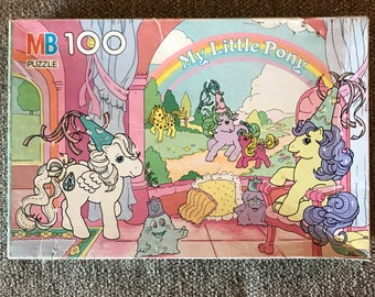 Complete Vintage 1987 Original My Little Pony Boxed Jigsaw Puzzle 100 Pieces, Rainbow, Hasbro, TV Show