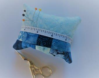 Patchwork Pincushion, Pin Cushion, Quilted, Blue, Batik