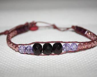 Wrap bracelet in shades of purple adjustable