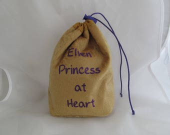 Dice Bag Pouch Velvet Dungeons and Dragons D&D RPG Role Playing Die Gold Elven Princess at Heart Reversible Lined