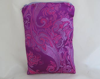 Brocade Tarot Card Bag Purple and Pink with Lavender Satin Lining and Zipper Dice Makeup Pouch Fancy