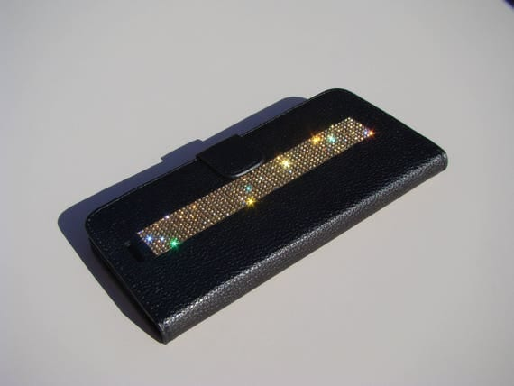 iPhone 8 Plus / iPhone 7 Plus Case Gold Topaz Rhinestone Crystals on black Wallet Case. Velvet/Silk Pouch bag Included, .