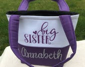 Big Sister Gift - Big Sister Hospital Bag - Tiny Tote -  Kid's Purse - Toddler Purse - Purse for Kids - Monogrammed Tote Bag