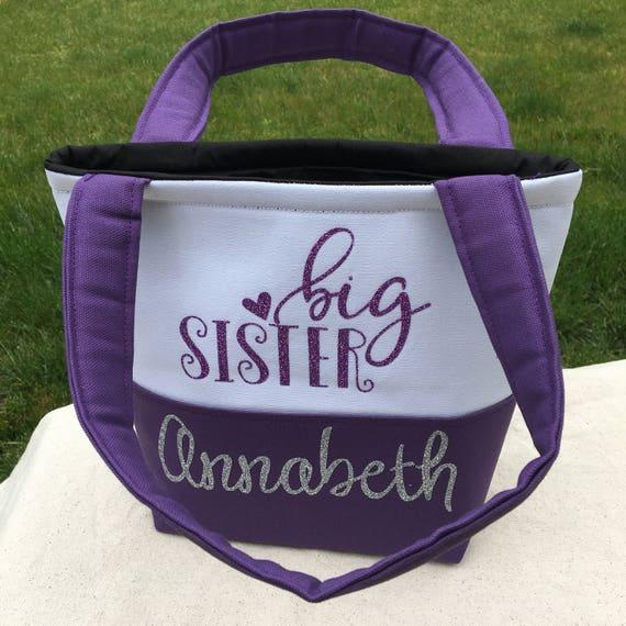 Big Sister Gift - Big Sister Hospital Bag - Tiny Tote -  Kid's Purse - Toddler Purse - Purse for Kids - Monogrammed Tote Bag