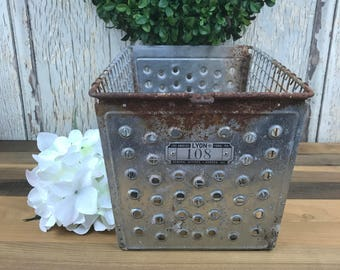 Vintage Metal Locker Basket, Metal Basket, Vintgae Metal Basket, Metal Storage Basket, Metal Locker Basket, Locker Basket, Industrail Basket