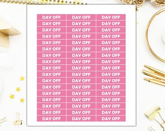 Pink Day Off Labels Stickers, Pink Day Off Label Planner Stickers  – Sticker Sale, Sized for the Erin Condren – 4052
