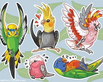 Australian Parrot Vinyl sticker sheet (BURBS!)