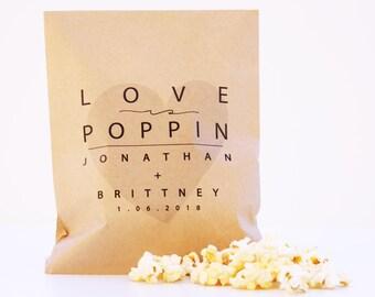 Popcorn Favor Bag, Wax Lined Favor Bag, Custom Favor Bag, Popcorn Bag, Dessert Table, Donut Bag, Wedding Favor, Love is Sweet, Donut Box
