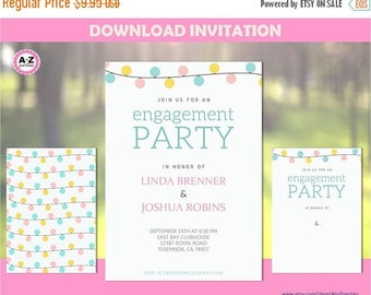 60% OFF Engagement Party Invitation, Couples Shower, Lanterns, Editable Party Invitation, Mr. and Mrs., Edit with Adobe Reader, Blank Templa