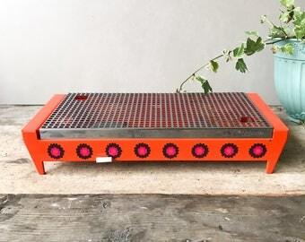 Vintage Brabantia Patrice Food Warmer / Hot Plate, Retro Orange Flowers Rechaud, 70's Dutch Kitchenware
