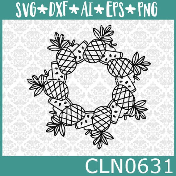CLN0631 Pineapple Apple Watermelon Mandala Monogram SVG DXF Ai Eps PNG Vector INstant Download Commercial Cut File Cricut Silhouette