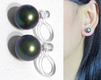 Scarab Green 8mm Swarovski Pearl Clip On Earring,Non Pierced Bridal Wedding Stud Clip On Earrings,6mm Sold Separately,Invisible Clip-ons