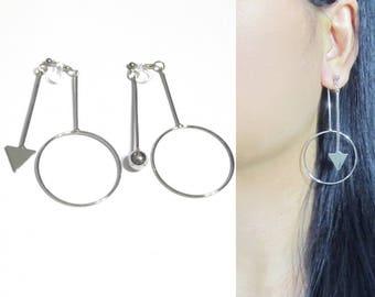Double Sided Clip-On Earrings,Dangle Silver Clip On Earring,40E,Long Geometric Clip Earrings,Invisible Clip-ons Boho Arrow Clip on Earrings