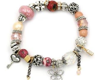 Colorful bead flower bracelet