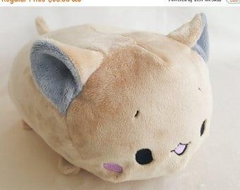 SALE 15% OFF Beige Cat Tsumu Plush // Kawaii Kitty Roll Plushie // Handmade Stuffed Animal Plush Toy // Off White Neko // Ready to Ship
