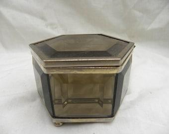 Jewellery / Trinket box Smokey Glass Hexagonal