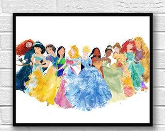 Princess Watercolor Print, Disney Art, Cinderella Belle Aurora Sleeping Beauty Rapunzel Ariel Snow White Brave Pocahontas Jasmine - 531