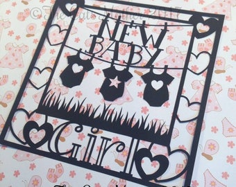 New Baby Girl  Paper Cutting Template - Commercial Use