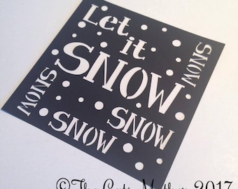 Let It Snow Christmas Card Paper Cutting Template - Commercial Use