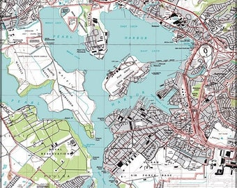 20% Off Sale - Poster, Many Sizes Available; Topographic Map Of Pearl Harbor