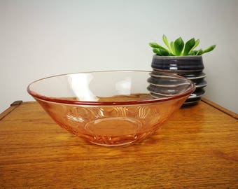 Vintage pressed glass pink bowl