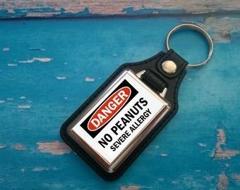 Silver Plated Keyring - Key Ring - Key Chain - Allergic - Danger - No Peanuts - Severe Allergy - Medical Awareness Alert