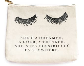 Eyelash Makeup Bag She's A Dreamer Makeup Bag Cosmetic Bag Toiletry Bag Zipper Pouch Bridesmaid Gift Eyelash Makeup Bag Lashes Bag Sayings
