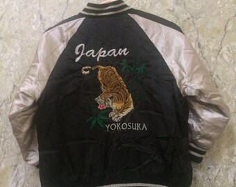 Birthday Sale KIDS Vintage Embroidered Japanese Souvenirs Sukajan Varsity Jacket, Yakuza, Hip Hop Tiger Yokosuka Rare