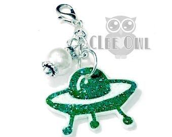 Green UFO Alien Planner Charm / Key Fob / Purse Charm / Zipper Pull X-Files