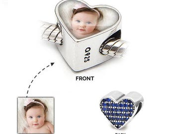 Pandora Photo Charm   Personalised bead to fit Pandora   925 Sterling Silver Charm   Love heart   Personalised Jewellery ideal for weddings