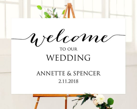 24x36 welcome to our wedding sign template. Black Bedroom Furniture Sets. Home Design Ideas